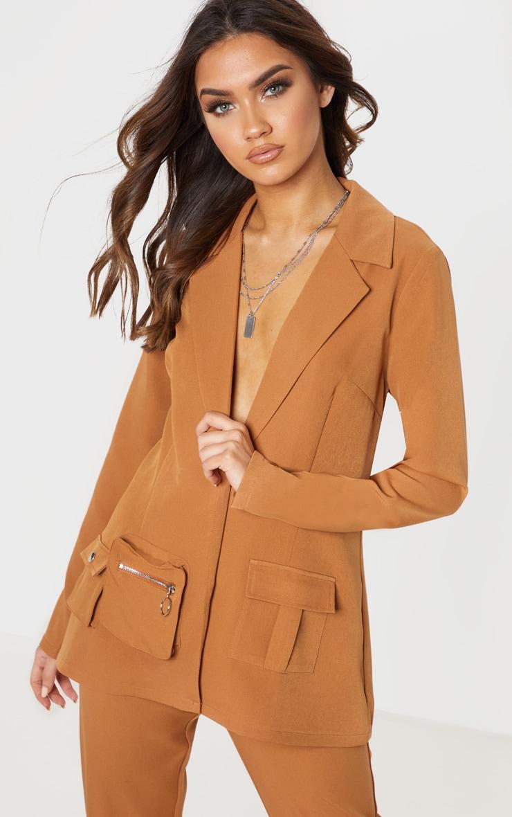 Tan Pocket Detail Woven Blazer 1