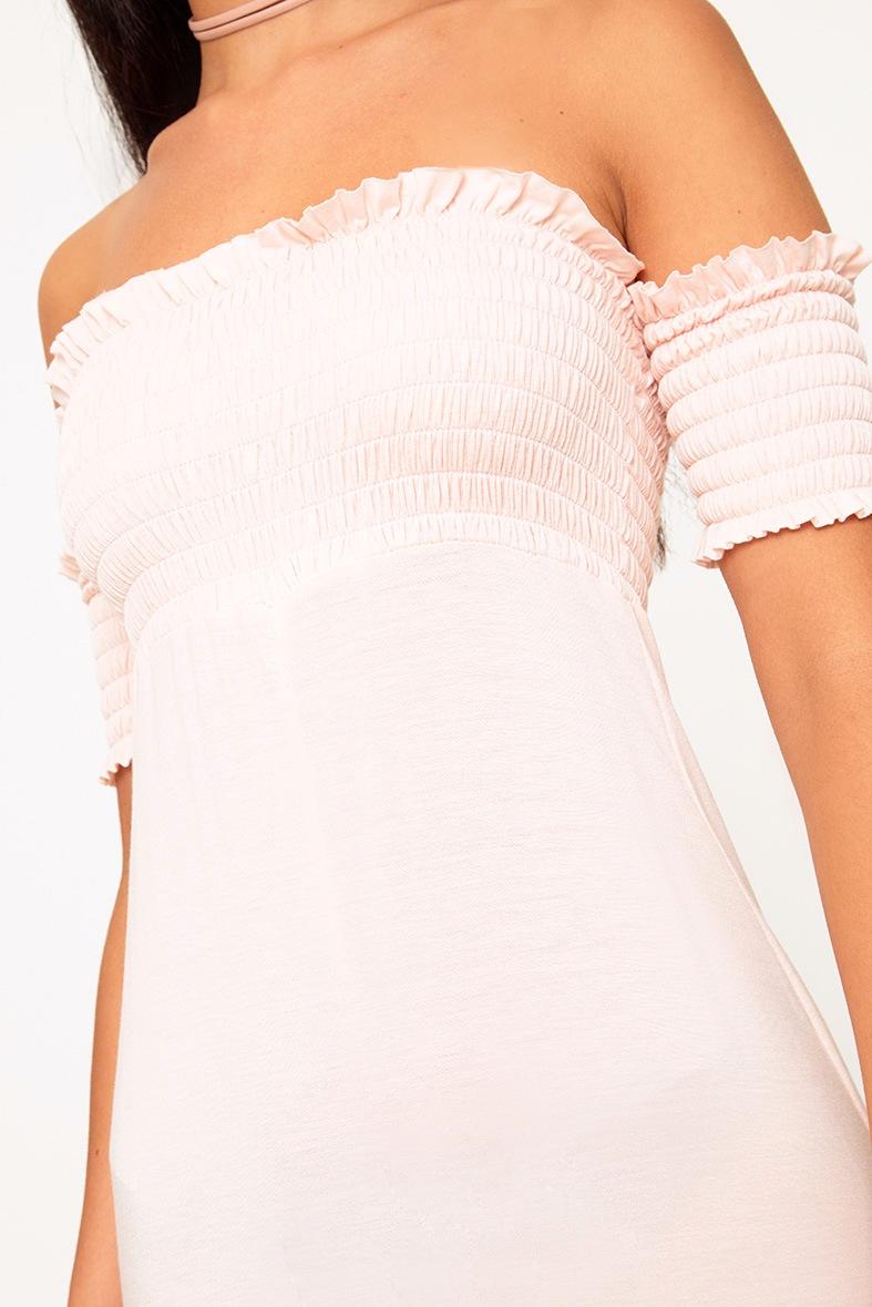 Nude Bardot Shirred Jumpsuit 4