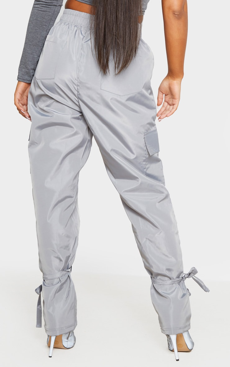 Grey Shell Tie Ankle Cargo Jogger 3