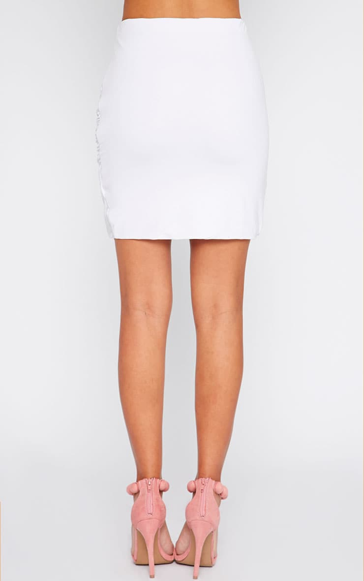 White Jersey Ruched Mini Skirt  4