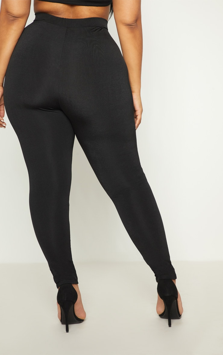 Plus Black Slinky High Waisted Leggings 4