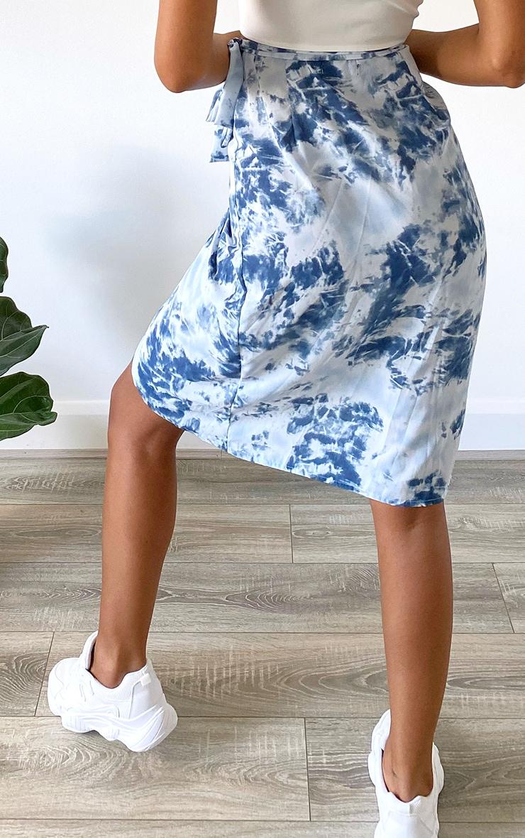 Blue Tie Dye Wrap Around Midi Skirt 3