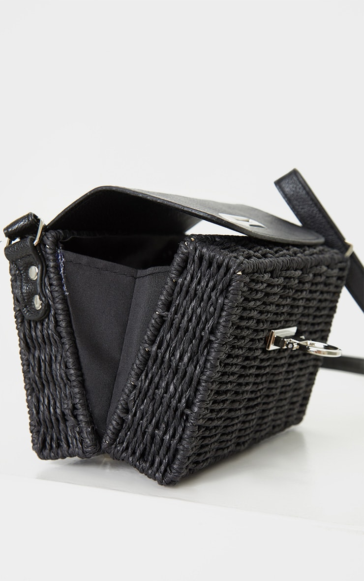 Black Square Structured Straw Cross Body Bag 4