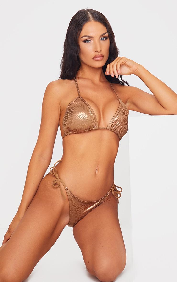 Brown Metallic Snake Padded Triangle Bikini Top 3
