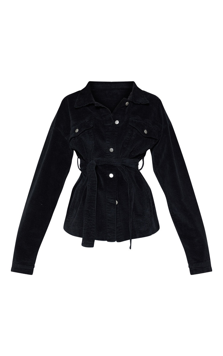 Black Cord Belted Waist Jacket 3