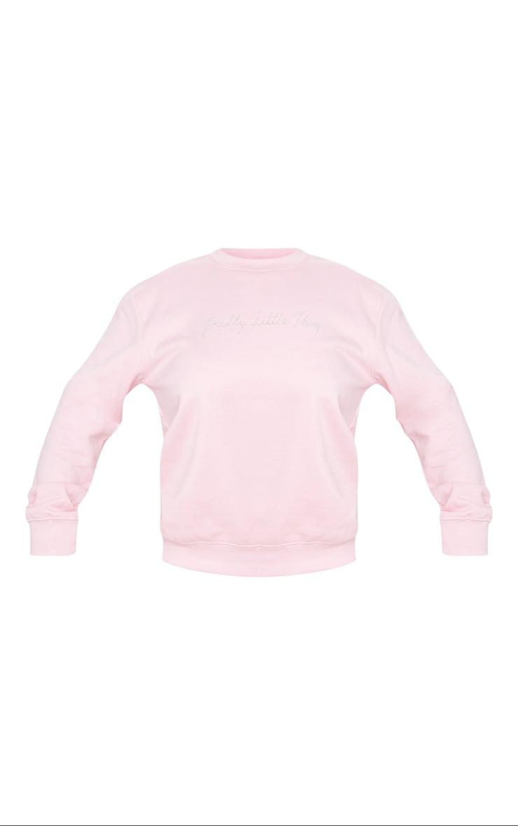 PRETTYLITTLETHING Baby Pink Diamante Graphic Sweatshirt 5