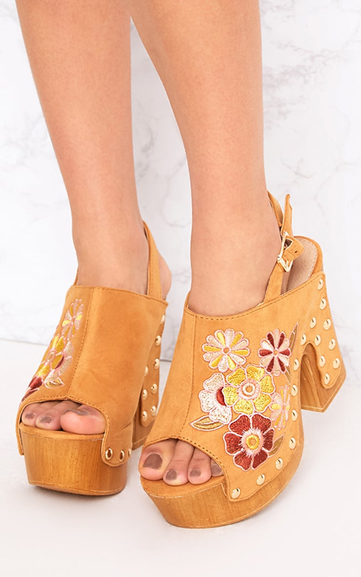 Tia Camel Embroidered Studded Platforms 1