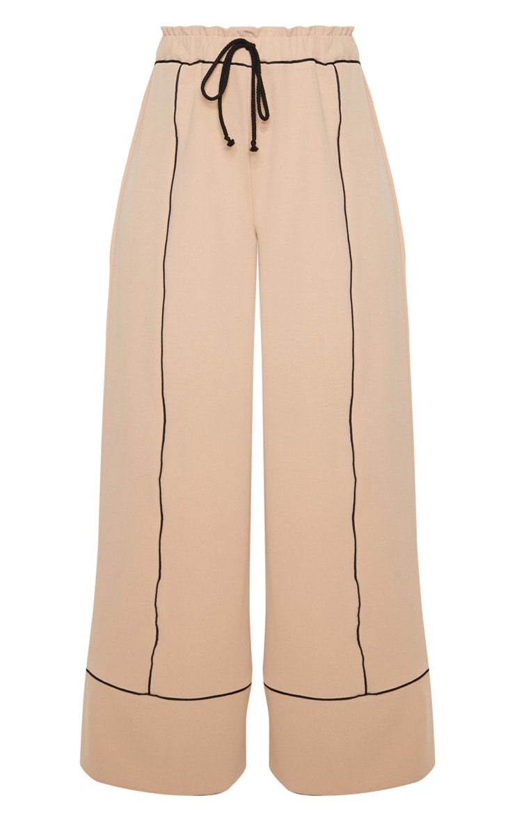 Stone Contrast Binding Ruched Waist Wide Leg Trouser 3