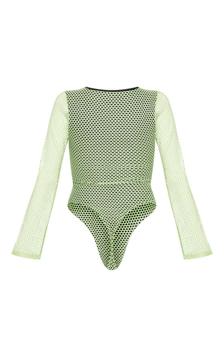 Neon Lime Fishnet Long Sleeve Bodysuit 4