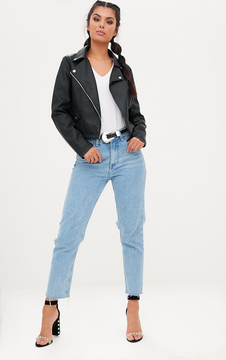 Black PU Biker Jacket With Pocket Detail 4