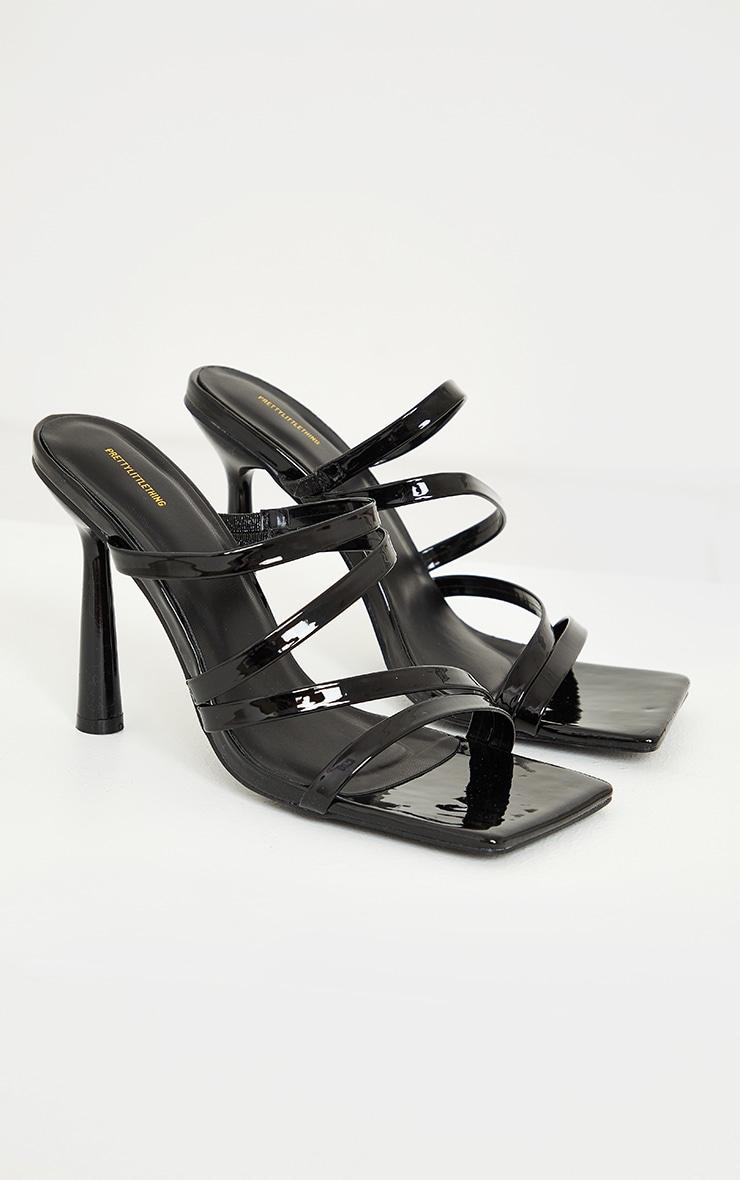 Black Pu Patent Multi Strap Circle Heeled Mules Sandals 4