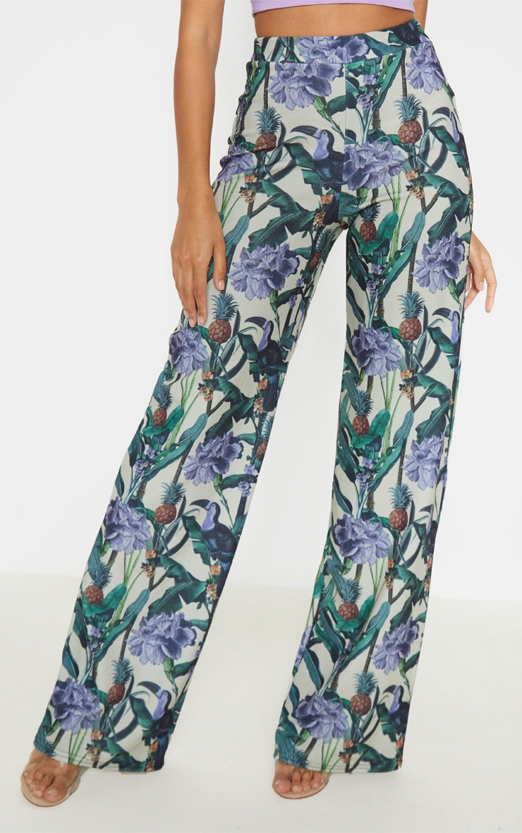 Sage Green Floral Print Wide Leg Trouser  2