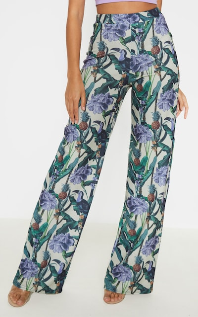 Sage Green Floral Print Wide Leg Trouser