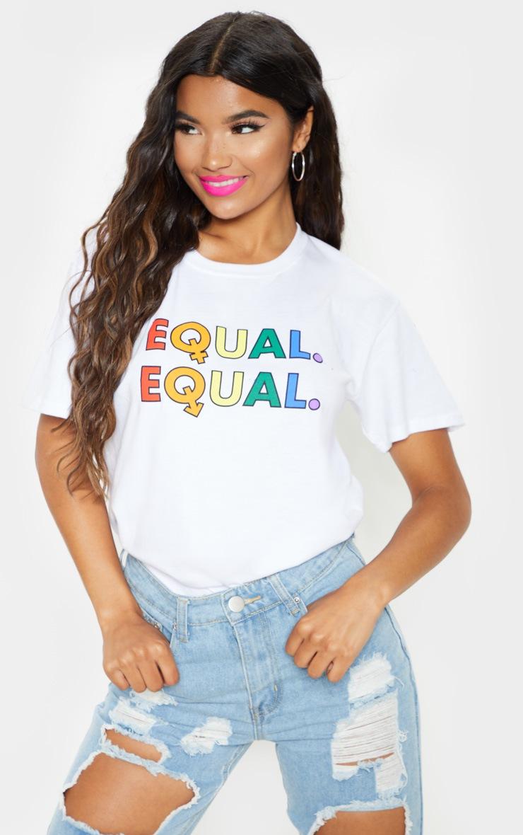 UNISEX White EQUAL Oversized T-shirt  2