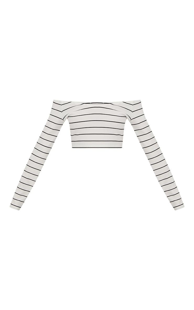 White Ribbed Stripe Off Shoulder Crop Top 3