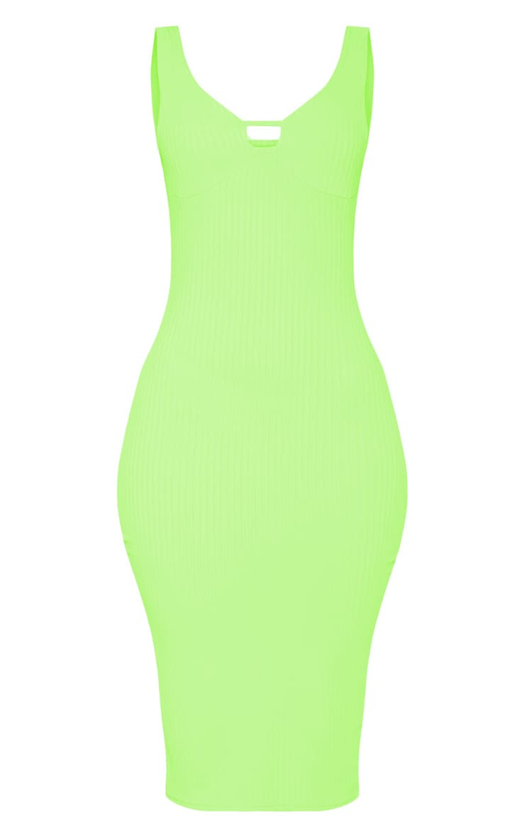 Neon Lime Ribbed Sleeveless Cup Detail Midi Dress 3