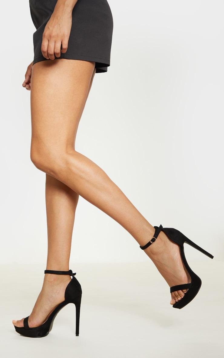 Black Platform Strap Heeled Sandal 1