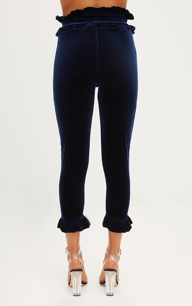 Navy Velvet Frill Trim Trousers 4