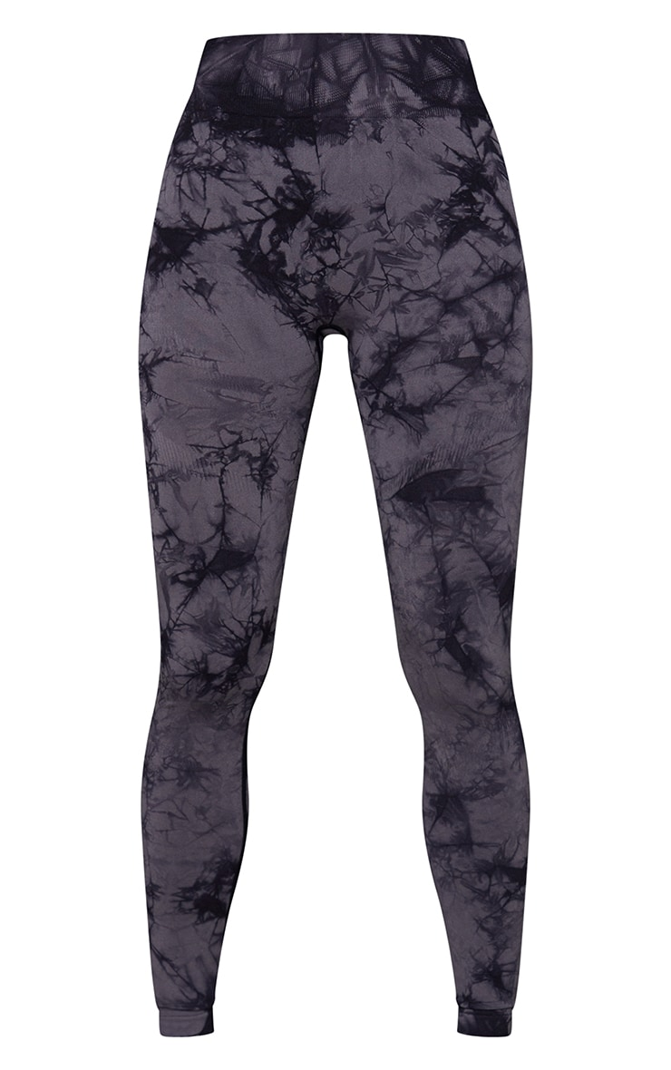 Grey Tie Dye Seamless High Waist Gym Legging 5
