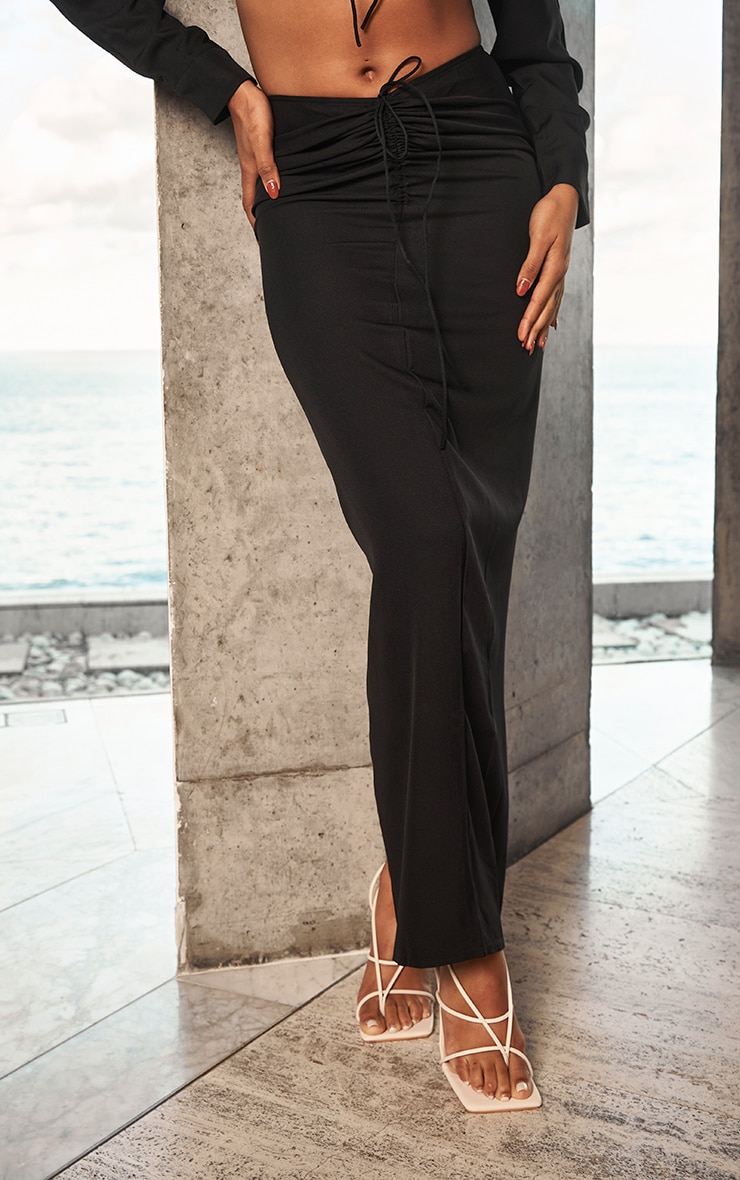 Black Woven Ruched Tie Front Maxi Skirt 2