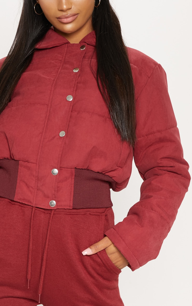 BURGUNDY Peach Skin Cropped Puffer Jacket 5