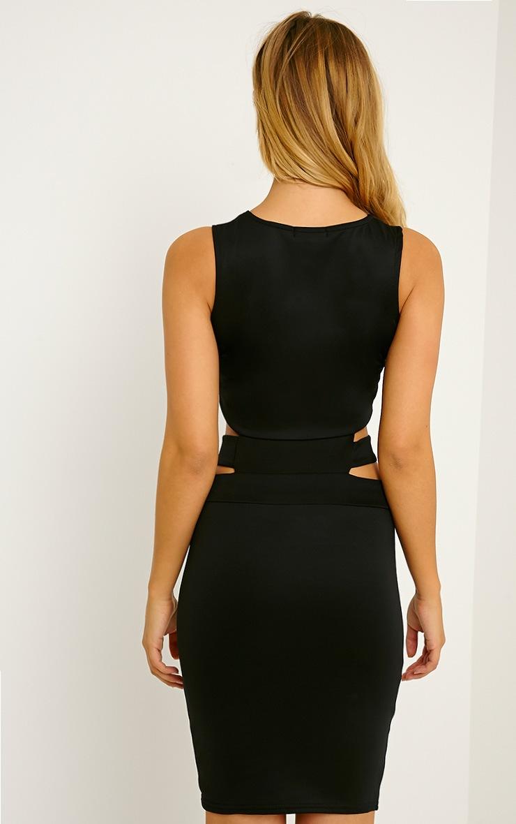 Belle Black Belted Mini Dress 2