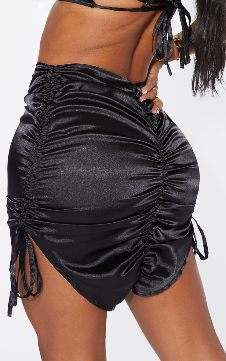 Shape Black Satin Ruched Detail Bodycon Skirt 5