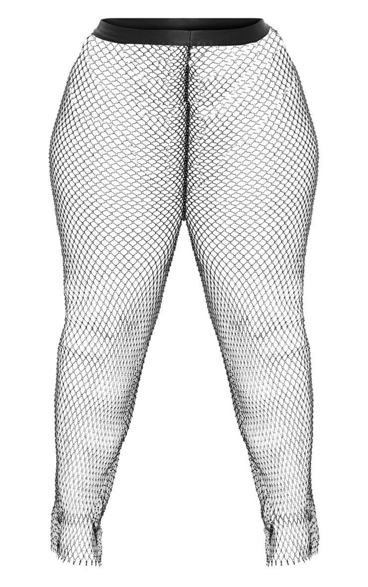 Plus Black Mesh Diamante Wide Leg Trouser 3