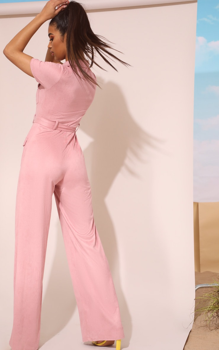 Rose Pink Faux Suede Zip Detail Jumpsuit 3