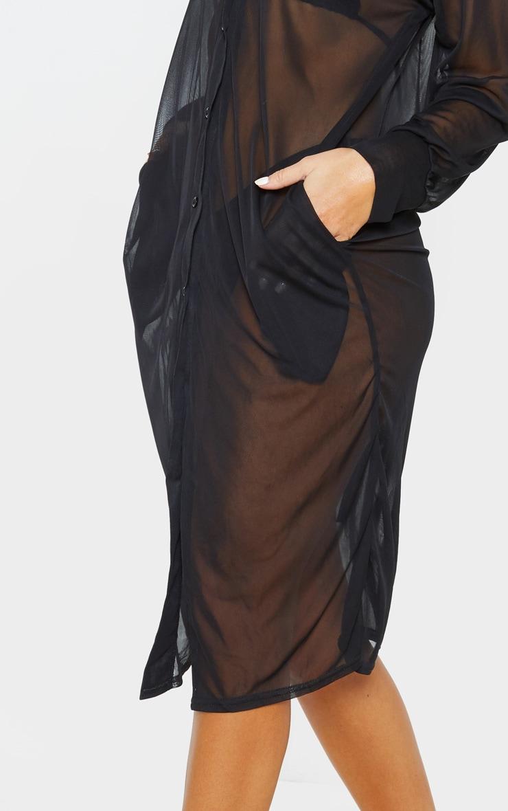 Black Oversized Beach Shirt Dress 5