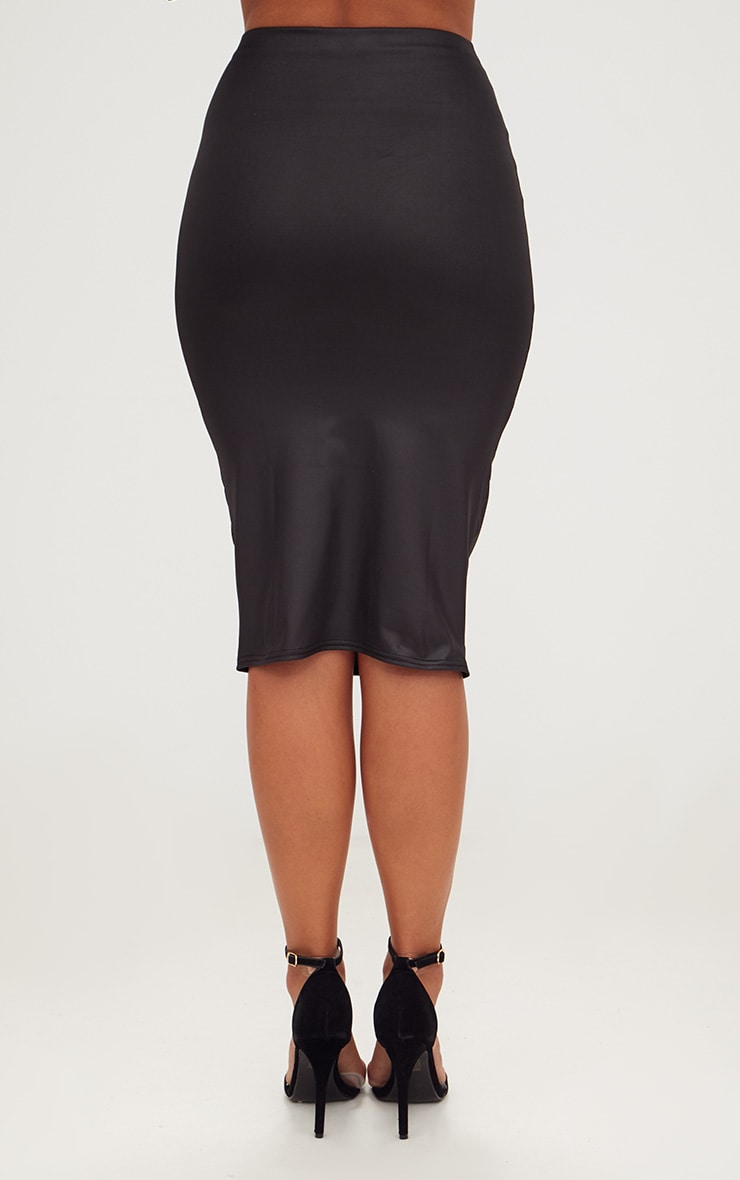 Black Leather Look Midi Skirt 4