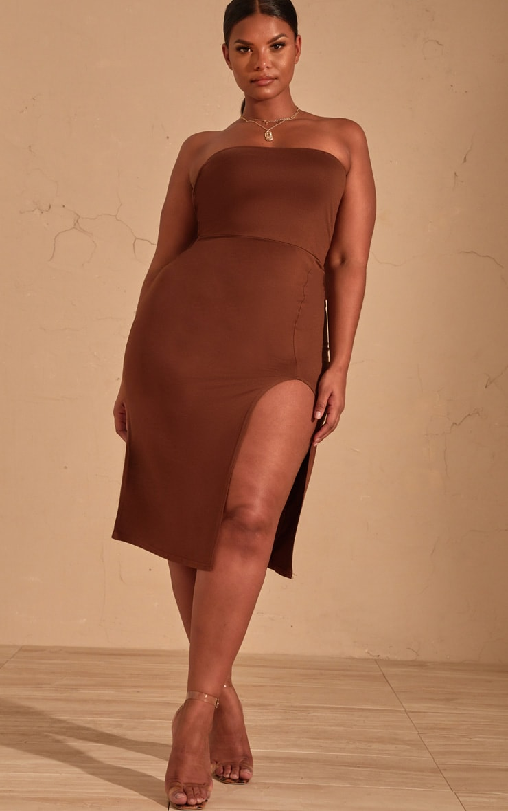 Plus Chocolate Brown Bandeau Split Front Midi Dress 4