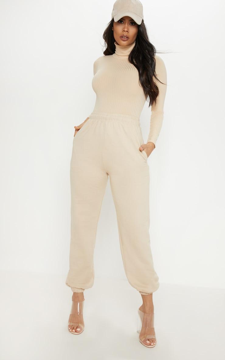 Cream Rib Roll Neck Long Sleeve Bodysuit 5