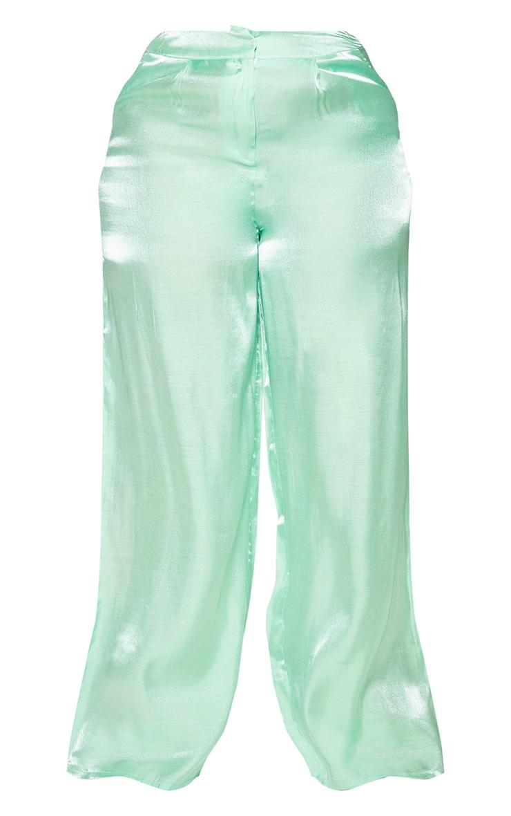 Plus Sage Green Metallic Wide Leg Pants 5