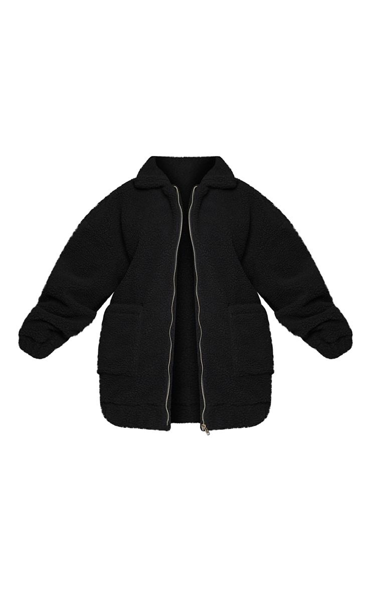 Plus Black Oversized Borg Pocket Front Coat 5