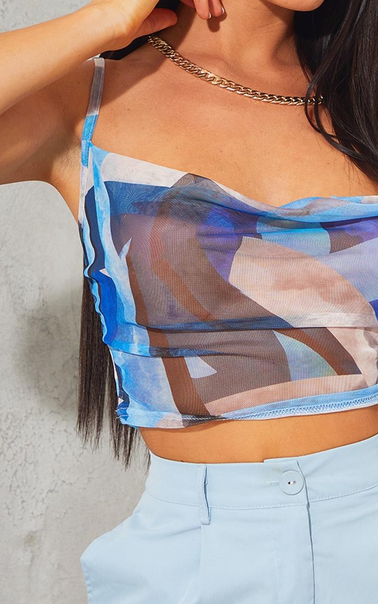 Blue Print Mesh Cowl Neck Cami 4