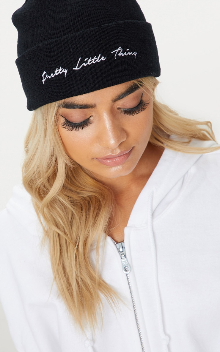 PRETTYLITTLETHING Black Embroidered Beanie 1