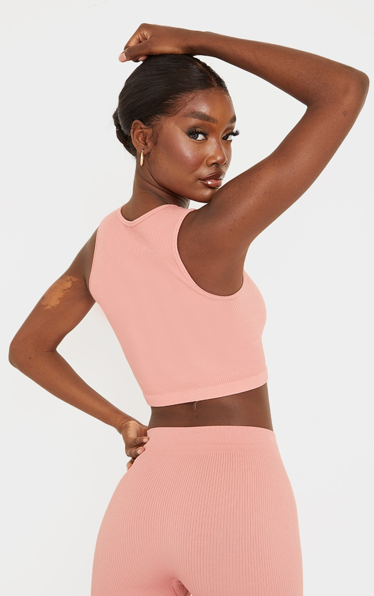 Tall Clay Structured Contour Sleeveless Ribbed Crop Top 2