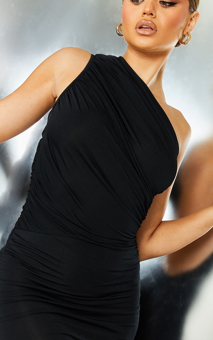 Black Slinky Ruched One Shoulder Bodycon Dress 4