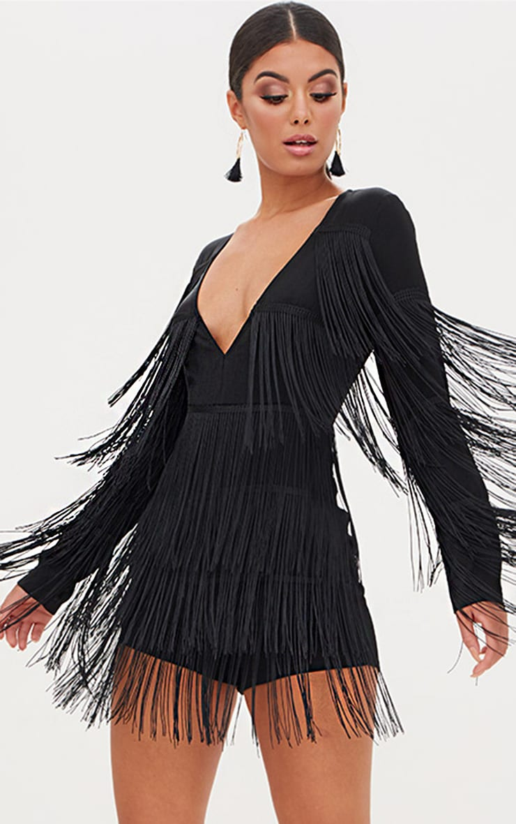 Black Tassel Plunge Playsuit  1