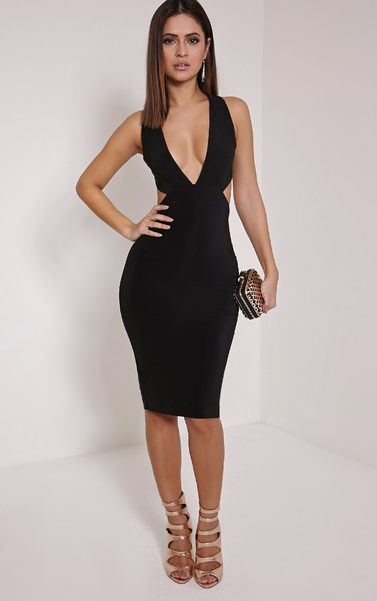 Biddy Black Deep V Plunge Cross Back Midi Dress 1