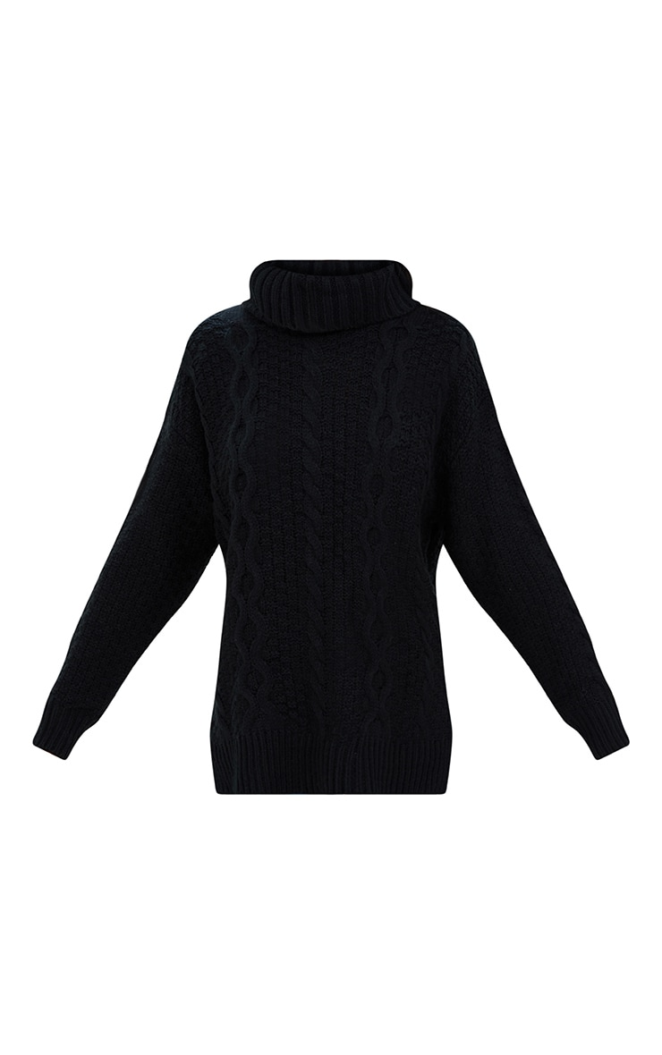 Black Chunky Cable Knit Roll Neck Jumper 3