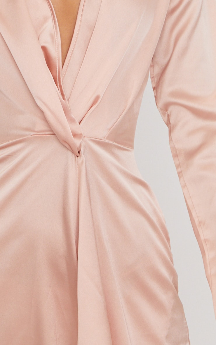 Nude Satin Long Sleeve Wrap Dress 5