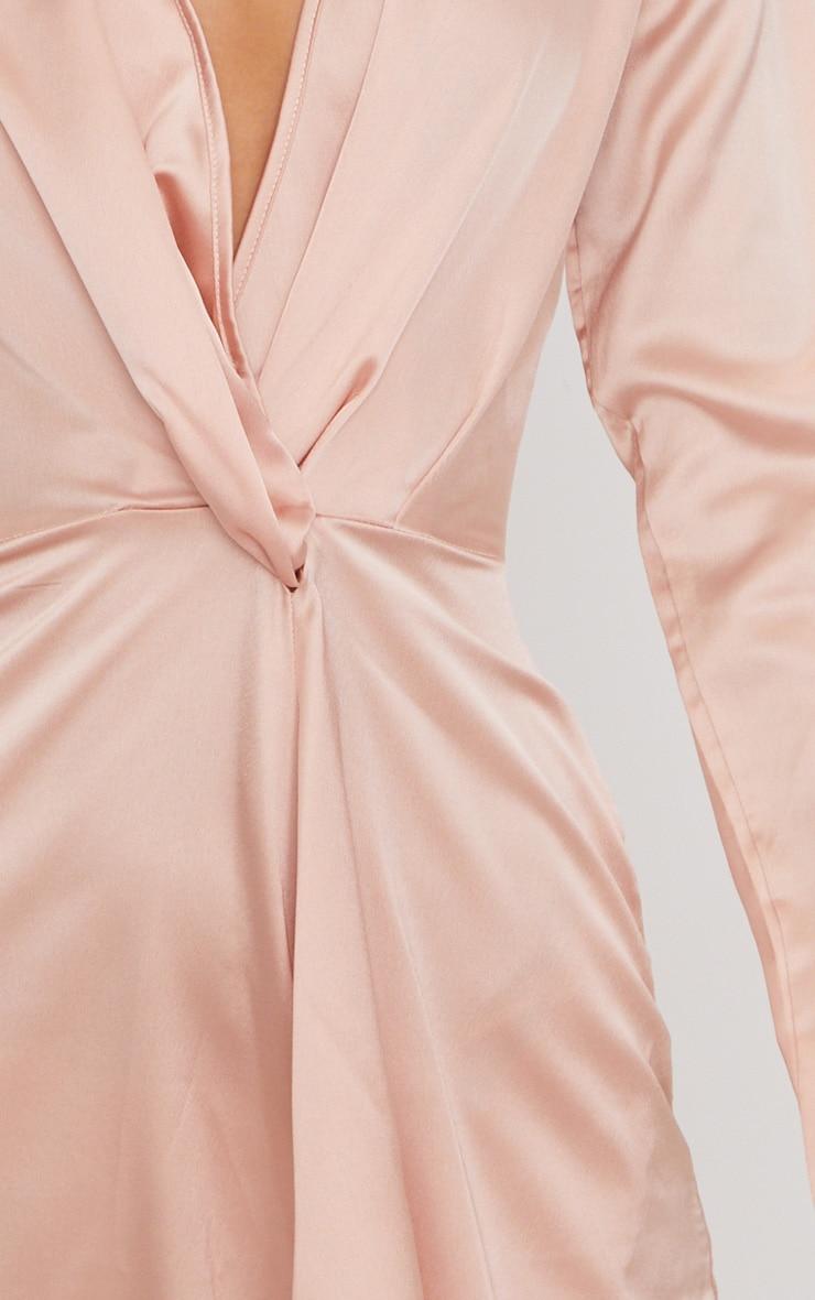 Nude Satin Long Sleeve Wrap Dress 6
