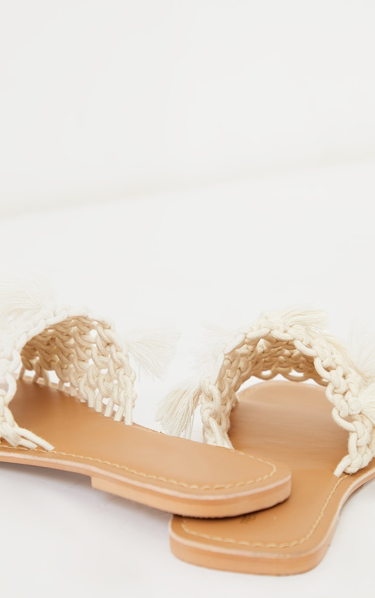 White Real Leather Rope Strap Sandals 4
