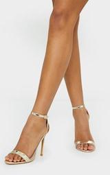 Gold Wide Fit Clover Single Strap Heeled Sandal 2