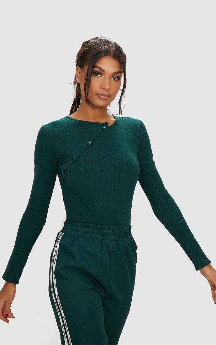Forest Green Rib Popper Front Thong Bodysuit 2
