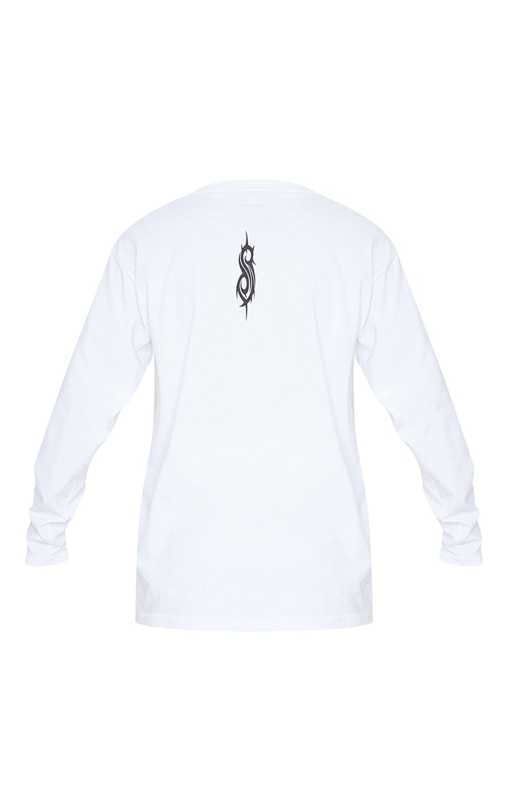 White Slipknot Printed Long Sleeve T Shirt 4