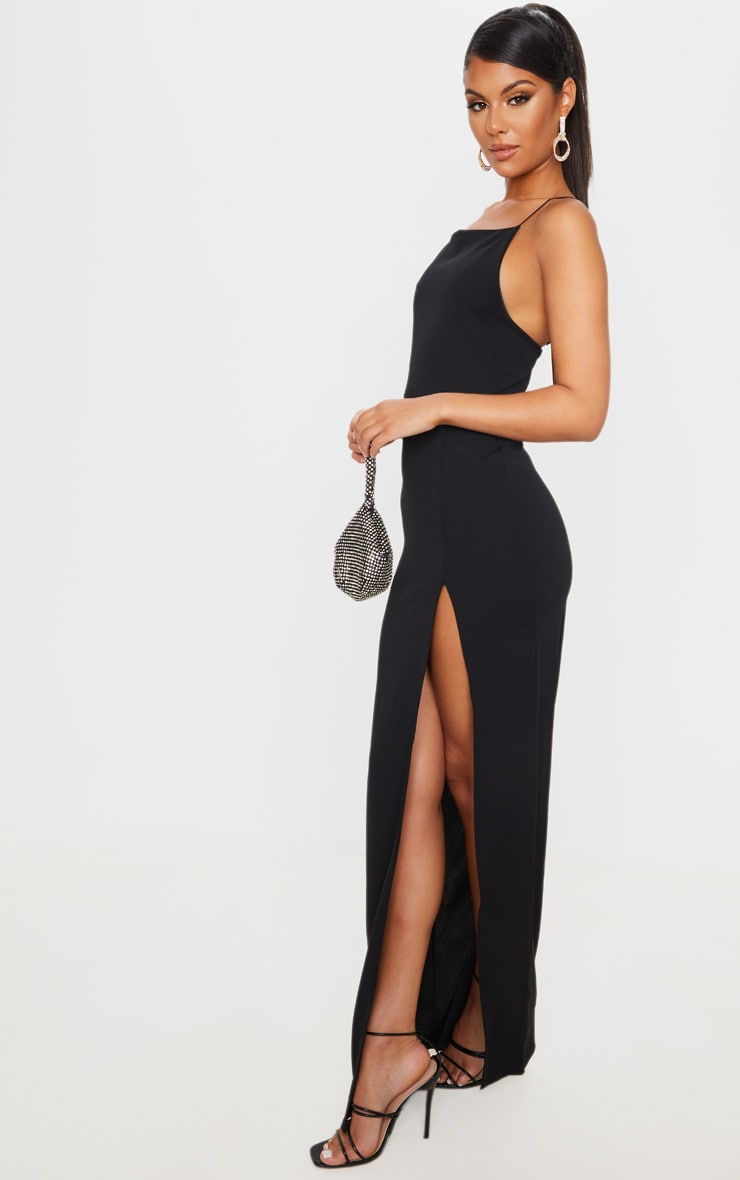 Black Straight Neck Cross Back Maxi Dress 4