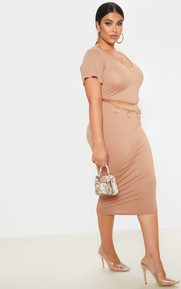 Plus Camel Jersey V Neck T- Shirt Midi Dress 4